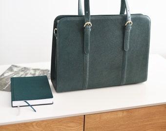 Leather briefcase women - Leather laptop bag women - 15 inch laptop bag - Office bag women - Slim leather briefcase - Convertible laptop bag