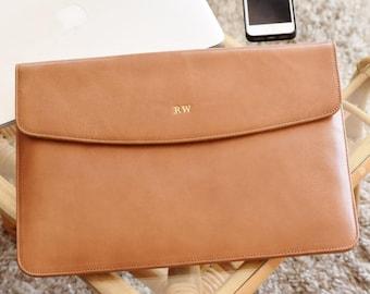MacBook Pro / Air 13 / 15 / 16 inch sleeve - Leather laptop sleeve - Envelope case  - Personalized laptop folio - Monogrammed - Laptop case