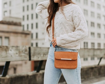 Leather crossbody bags for women - Small leather crossbody purse - Leather clutch - Phone bag - Detachable strap - Birthday gift for her