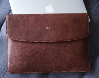Laptop cases 13 inch MacBook Pro / Air - Leather laptop sleeve 16 inch MacBook Pro - Laptop sleeve personalized - Monogrammed case - Folio