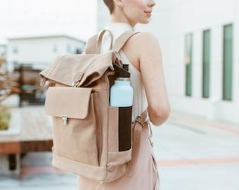Top roll backpack - Commuter backpack - 13 inch laptop backpack - Beige Nubuck leather - Convertible size - Minimalist - Side bottle pockets