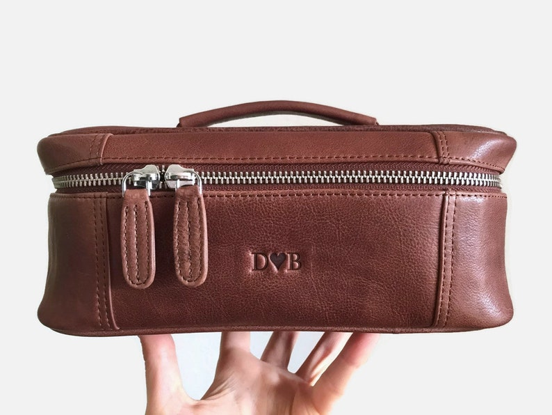 d215a01466 Large toiletry bag Makeup bag leather Leather dopp kit