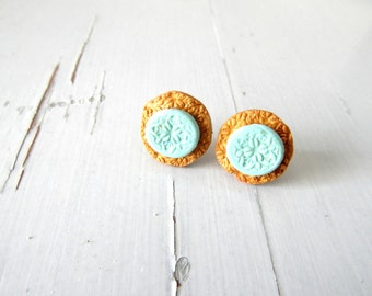 SALE -Turquoise Gold stud earrings, cute post studs, small stud earrings - FREE SHIPPING