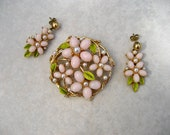 Vintage Signed ART Floral Brooch Earring Set Pink Lucite Green Enamel Faux Pearls