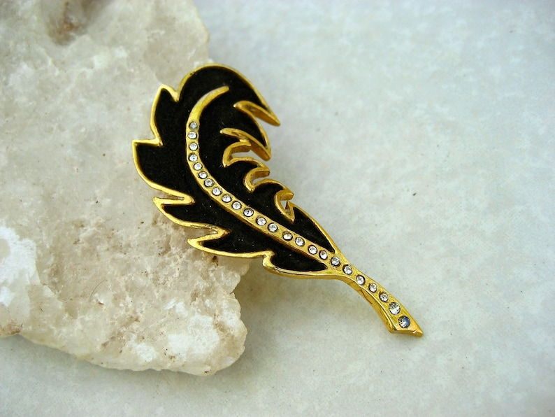 Vintage Henry a la Pensee Brooch Black Suede Crystal Leaf Made In France