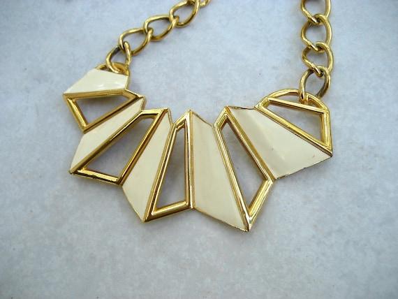 Vintage Bib Necklace Monet Modernist Ivory Enamel Gold Tone Geometric 80s Runway