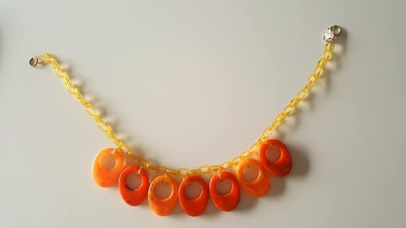 40s celluloid and bakelite necklace. Tequila sunri