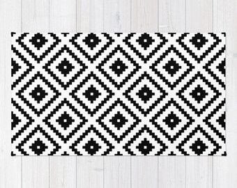 Abc Rug Black And White Rug Typography Decor Abc Carpet Etsy
