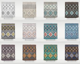 Modern Kilim Shower Curtain Bathroom Drapes 70x70 70x83 70x90 Ikat Aztec Turkish Pattern Blue Beige Brown Rust Orange Grey Teal Taupe