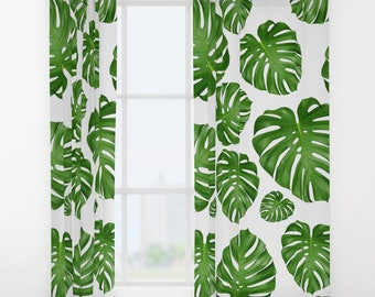 Monstera Leaf Window Curtains 50 X 84 Bedroom Drapes White Green Nature Tropical Palm Island Exotic Plants Botanical Print Watercolor