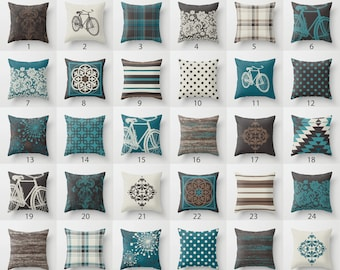 Teal Blue Dark Chocolate Grey Brown Throw Pillow Mix and Match Indoor Outdoor Cushion cover Accent Couch Toss Turquoise Beige Cream Offwhite