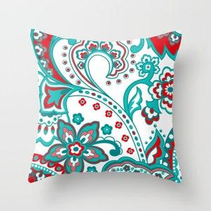 Crimson Aqua White Pillow Mix and Match