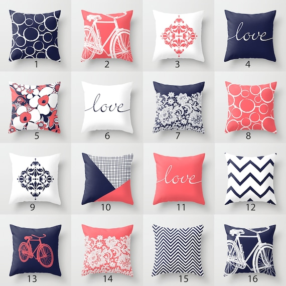 Navy Blue White Throw Pillow Mix