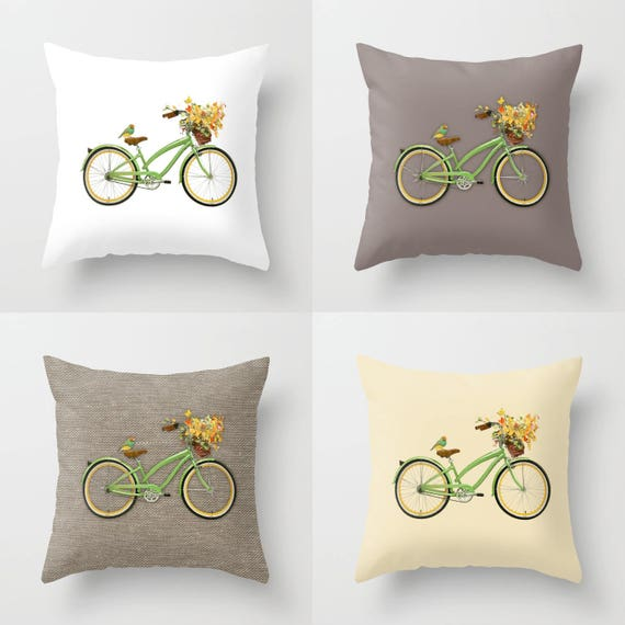 Green Bicycle Throw Pillow Indoor Outdoor Modern Bedding Etsy