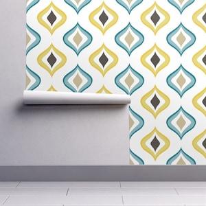 Retro Trellis Wallpaper REMOVABLE Peel and Stick SelfAdhesive repositionable EASY INSTALL woven Custom Size Reusable decal grey lime aqua