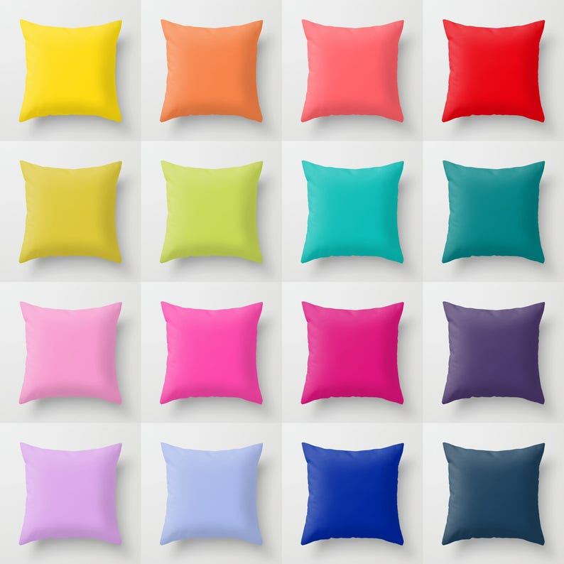 Solid Color Throw Pillow 16 Bright Color Options Indoor  a7c43d45067b