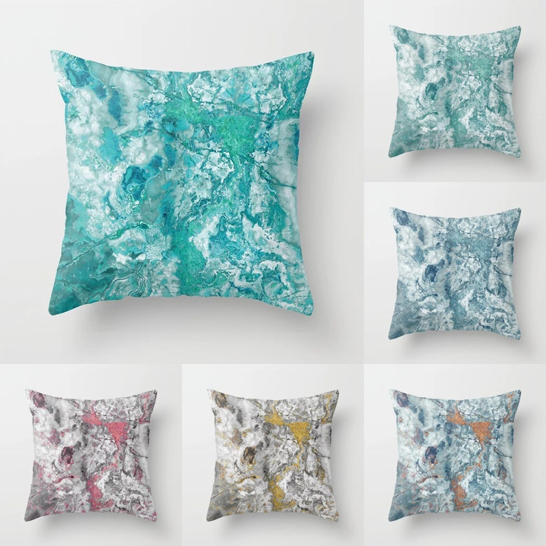 Marble Throw Pillow Indoor Outdoor Cushion Cover Case Aqua Etsy