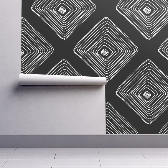 Diamond Sketch Wallpaper Black White Removable Peel And Stick Self Adhesive Repositionable Easy Install Woven Custom Sizes Reusable Decal