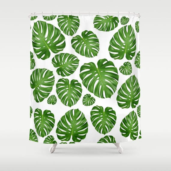 Monstera Leaf Shower Curtain 70 X Or 84 White Green