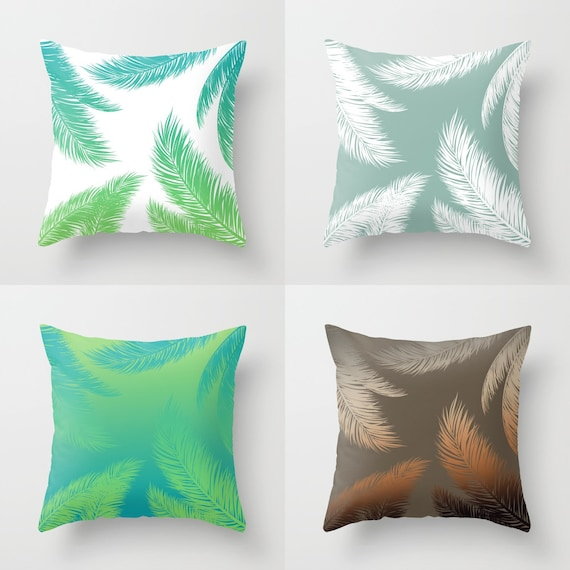 Palm Leaf Throw Pillow Indoor Outdoor, Turquoise And Lime Green Bedding