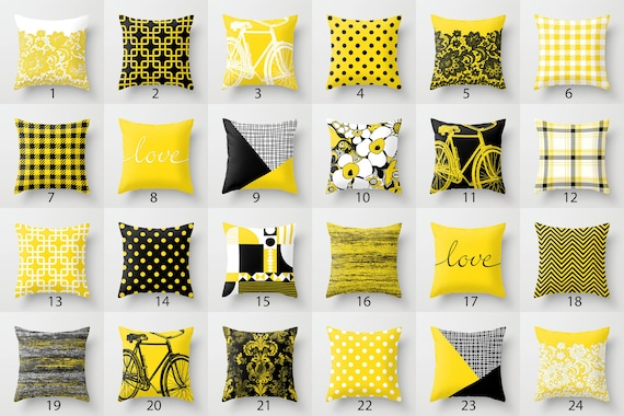 Awesome Black White Yellow Throw Pillow Mix And Match Indoor Outdoor Cushion Cover Accent Couch Toss Bright Vivid Melange Houndstooth Pied De Poule Frankydiablos Diy Chair Ideas Frankydiabloscom