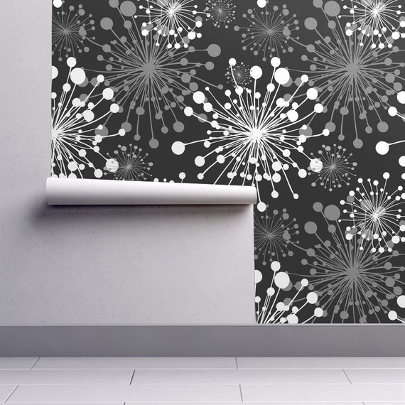 Dandelion Bloom Wallpaper Black White Grey Removable Peel And Stick Self Adhesive Repositionable Easy Install Woven Cust Size Reusable Decal