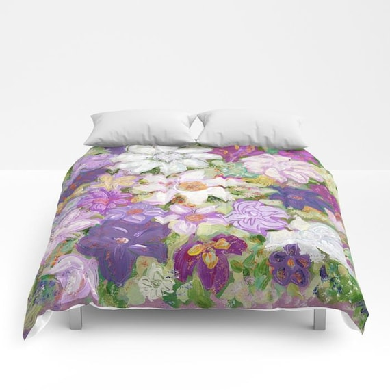 Spring floral duvet cover or comforter white purple pink etsy image 0 mightylinksfo