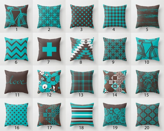 Turquoise Blue Chocolate Brown Throw Pillow Mix and Match   Etsy