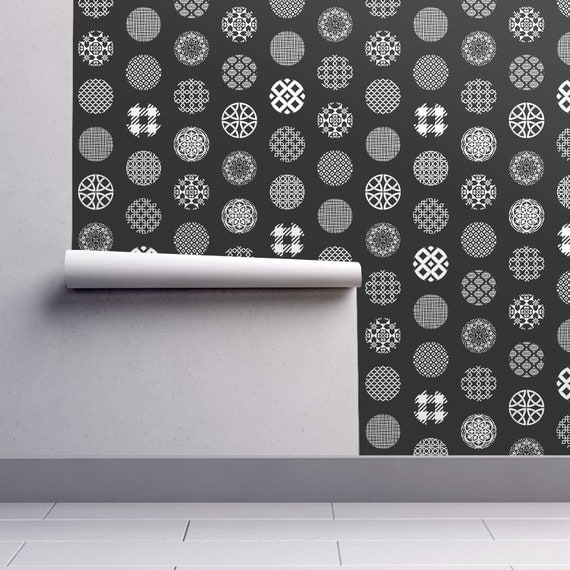 Ornament Dots Wallpaper Black White Removable Peel And Stick Self Adhesive Repositionable Easy Install Woven Custom Sizes Reusable Decal