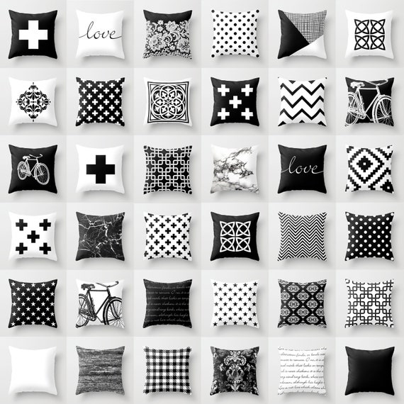 Tremendous Black And White Throw Pillow Mix And Match Indoor Outdoor Cushion Cover Accent Couch Toss Geometric Modern Bedding Living Room Neutral Decor Frankydiablos Diy Chair Ideas Frankydiabloscom