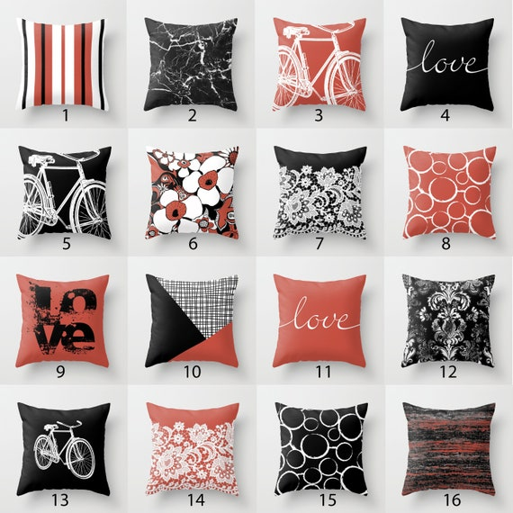 Pleasant Black White Terracotta Red Throw Pillow Mix And Match Indoor Outdoor Cushion Cover Accent Couch Toss Geometric Modern Bedding Living Room Frankydiablos Diy Chair Ideas Frankydiabloscom