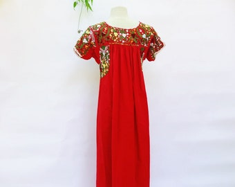 85120b1249f Vintage 70's hand embroidered Mexican Puebla maxi dress - 1970s cotton boho  red vibrant floral long dress-medium