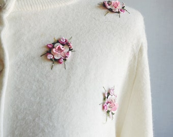 f176b411f6 Vintage 50 s feminine ivory embroidered floral wool sweater - 1950s Dorset  Knitwear pastel sequined button down cardigan sweater - small