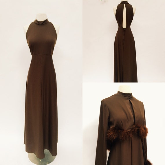 24a2615f011a Dramatic 70s maxi halter dress with matching ostrich feathered