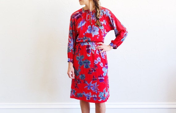 Vintage 80s Leonard Paris red floral dress - 1980s