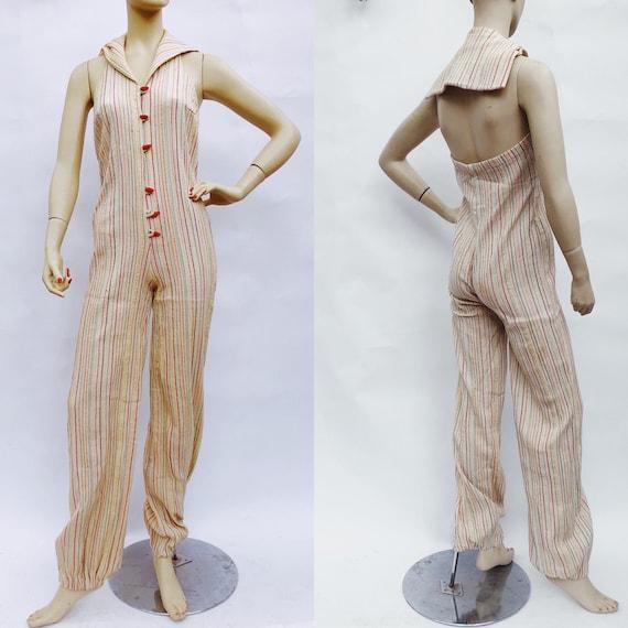 Vintage 70s retro gauze off white striped jumpsuit