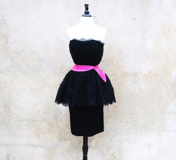 1960s collectible Ceil Chapman black lace cocktai… - image 1