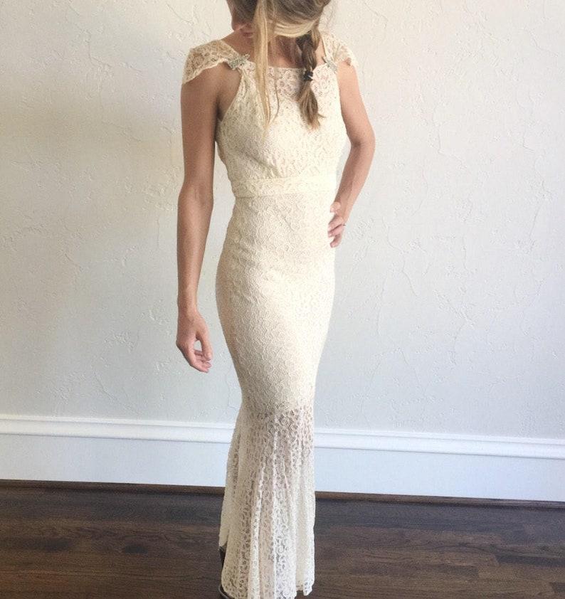 a4e8e770e03 1930s vintage Old Hollywood ivory lace wedding dress   jacket