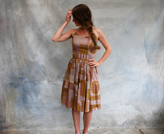 50s cotton summer sundress - 1950s brown and tan p