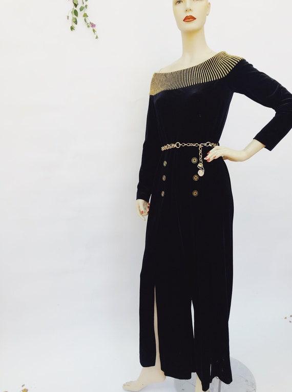 Vintage 80s black velvet jumpsuit - 1980s gold met