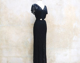 Reserved for Leslie 1930s Old Hollywood Art Deco long black lace evening gown - 30s formal gown - medium