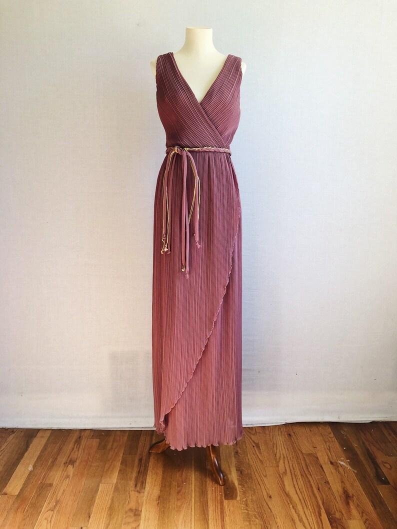7fd6346c529 Vintage 60s Jack Bryan pleated chiffon evening dress 1960s