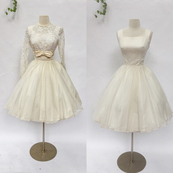 Vintage 50s Ivory Wedding Dress 1950s Satin And Lace Dior Look Full Skirt Eveningprom Party Dress Small Medium