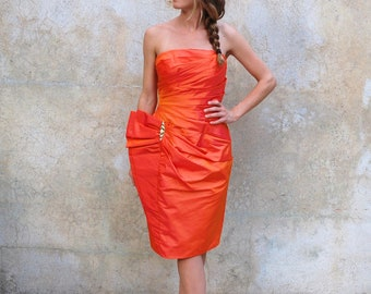 Vintage 1980s wiggle bombshell cocktail dress- 80s tangerine satin party dress- small