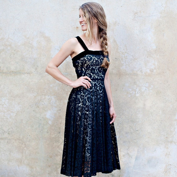 Sheer 50s black lace dress - 1950s cotton lace coc