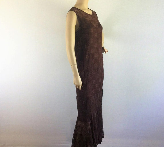 Antique 20s deco flapper dress- roaring 20s  brown