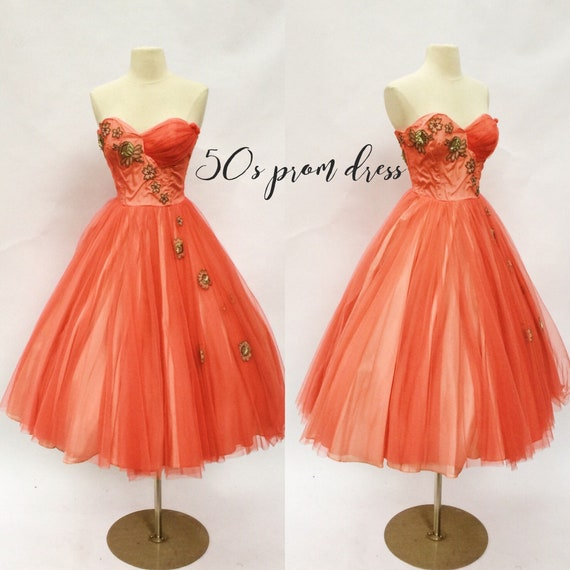 Vintage 50s coral strapless cocktail dress - 1950s