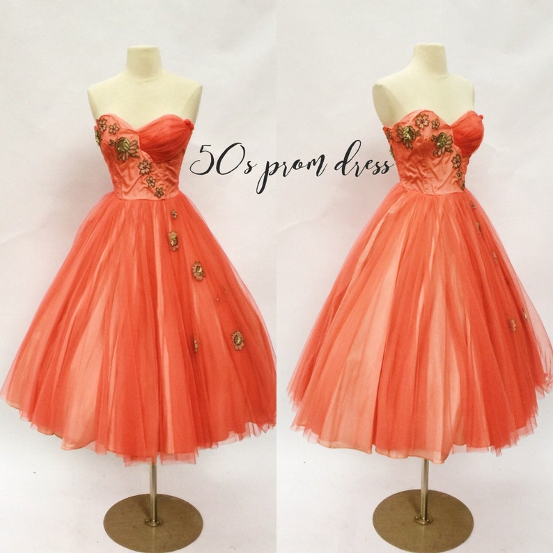 51055cde5a0 Vintage 50s coral strapless cocktail dress 1950s prom party