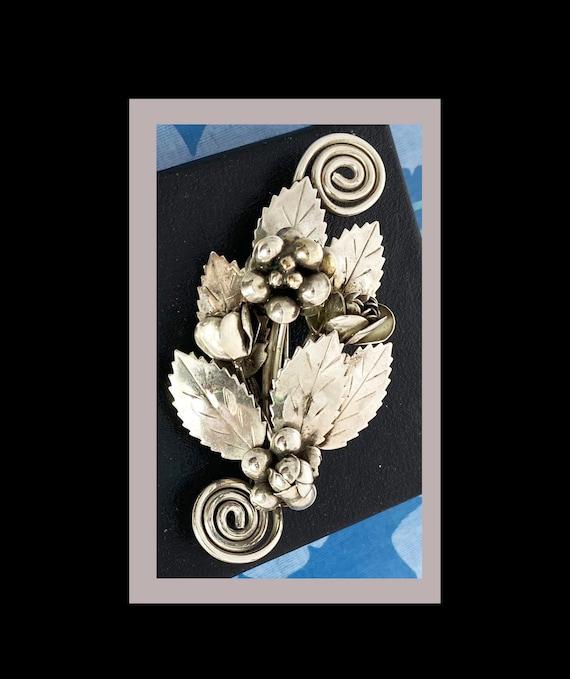 Hobe Floral Brooch Sterling Silver Signed Vintage