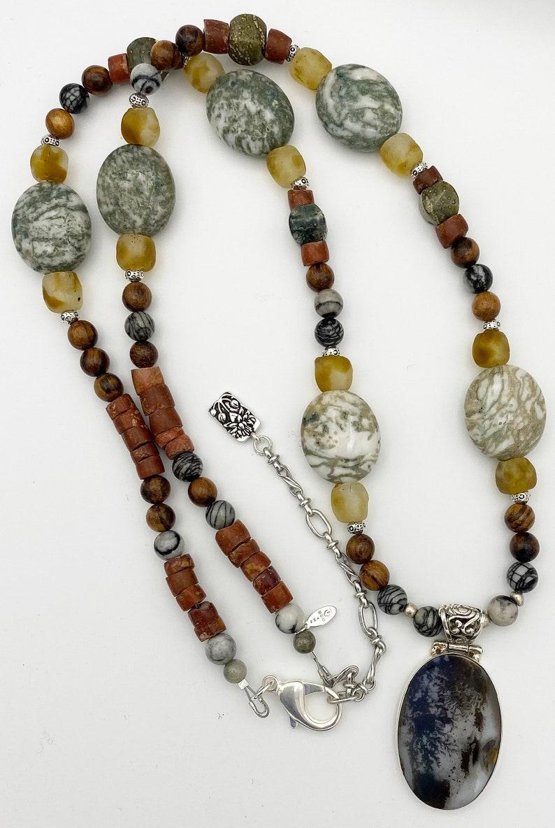 Plume Agate Pendant Hand Strung Necklace with Jasper Mahagony Krobo  Beads  18 inch drop
